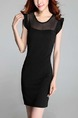 Black Bodycon Above Knee Plus Size Dress for Casual Office Party Evening