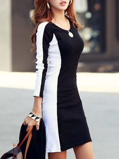 Black and White Bodycon Above Knee Plus Size Long Sleeve Dress for Casual Office Evening