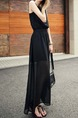 Black Maxi Plus Size V Neck Dress for Casual Evening