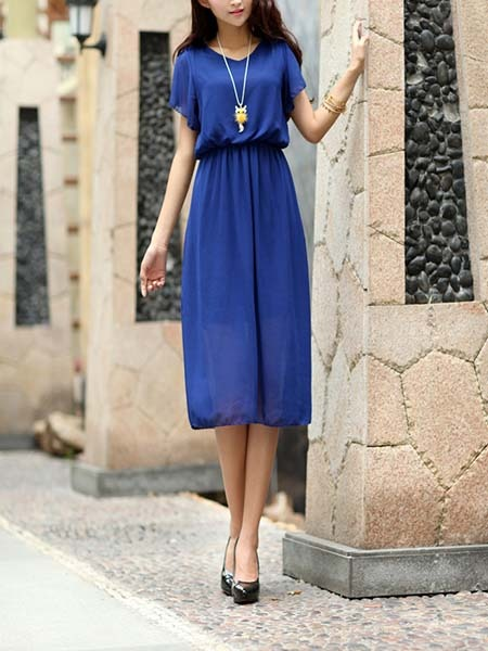 Blue Midi Plus Size Dress For Casual Evening_DRESS.PH ...