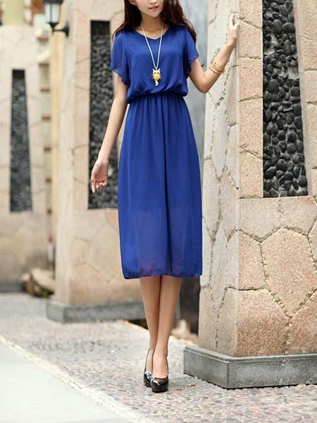 Blue Midi Plus Size Dress For Casual Evening_DRESS.PH ...