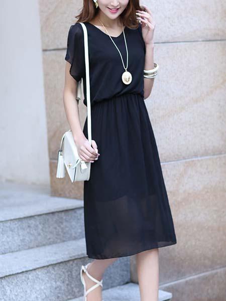 Black Midi Plus Size Dress For Casual Evening_DRESS.PH ...