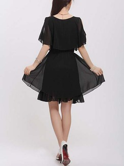 Black Fit & Flare Above Knee Plus Size Dress For Casual Evening Party