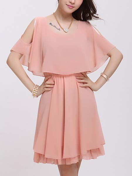 Pink Fit & Flare Above Knee Cute Plus Size Dress For ...