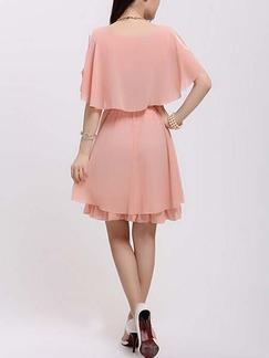 Pink Fit & Flare Above Knee Cute Plus Size Dress For Casual Evening Party