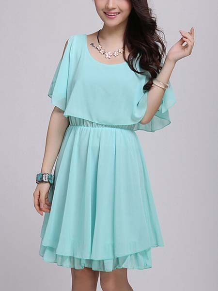 Blue Fit & Flare Above Knee Plus Size Dress For Casual Evening ...
