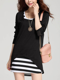 Black Bodycon Above Knee Long Sleeve Dress For Casual Party Evening