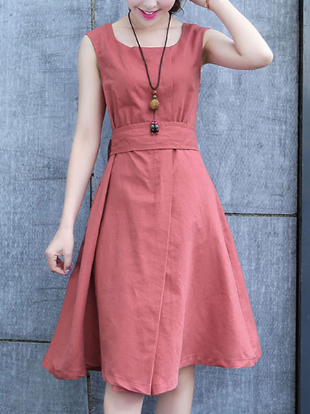 Red Knee Length Fit Amp Flare Dress For Casual