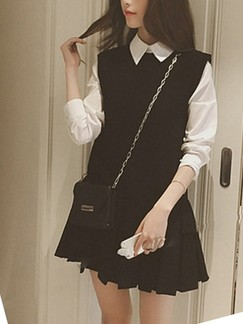 Black and White Fit & Flare Above Knee Shirt Dress for Casual Office