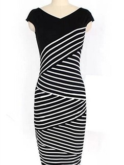 Black and White Bodycon V Neck Knee Length Plus Size Dress for Casual Office Evening Party