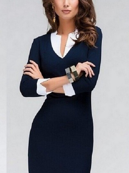 Blue Sheath Knee Length Dress for Casual Office Evening