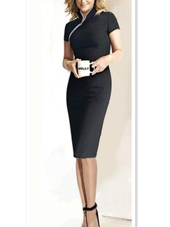 Black Bodycon Knee Length Plus Size Dress For Casual Office Evening