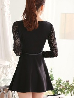 Black Lace Fit  Flare Long Sleeve Above Knee Plus Size Dress for Casual Office Evening Party Special Offer