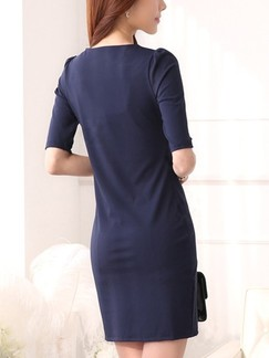 Blue Bodycon Above Knee Plus Size Dress for Casual Office Evening