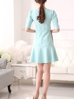 Green Sheath Above Knee Dress for Casual Office Evening