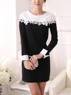 Black and White Sheath Lace Long Sleeve Above Knee Dress for Office Evening Casual Special Offer