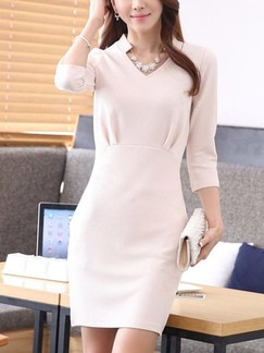 Beige Above Knee Sheath Plus Size V Neck Dress for Office Evening Casual