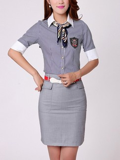 Blue and Grey Two Piece Sheath Above Knee Shirt Dress For Casual Office Special Offer