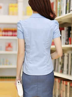 Blue Two Piece Shirt Sheath Above Knee Plus Size Dress for Casual Office
