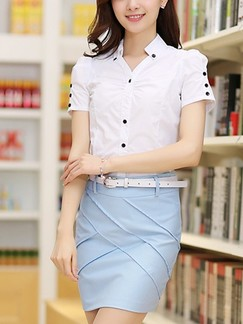 Blue and White Shirt Sheath Above Knee Dress for Casual Office