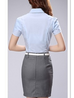 Grey and Blue Shirt Sheath Above Knee Dress for Casual Office Special Offer