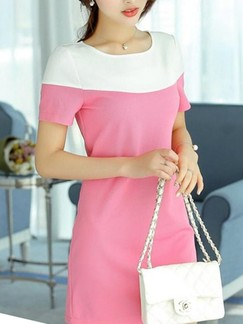 Pink and White Sheath Cute Above Knee Dress for Casual Party Evening