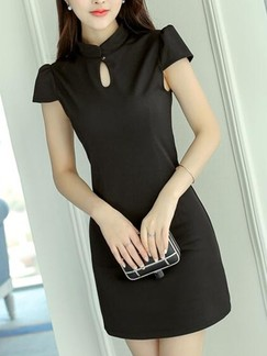 Black Sheath Above Knee Dress for Casual Party Evening