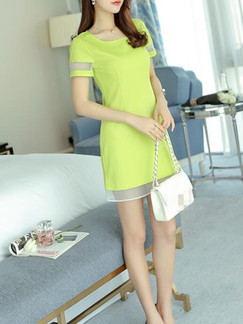 Green Sheath Above Knee Dress for Casual Party Evening