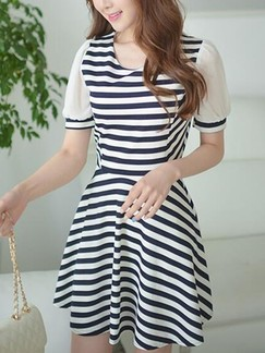 Black and White Stripe Above Knee Fit & Flare Dress for Casual