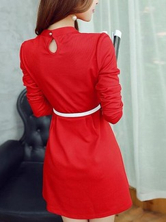 Red Long Sleeve Fit & Flare Above Knee Dress for Casual Evening Party