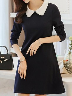 Blue Long Sleeve Shift Shirt Above Knee Dress for Casual Evening Office