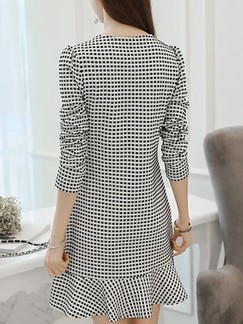 Black and White Long Sleeve Sheath Above Knee Dress for Casual Evening Office