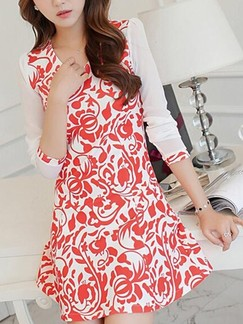 Red and White Long Sleeve Fit & Flare Above Knee Floral V Neck Dress for Casual Evening