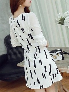 Black and White Long Sleeve Fit & Flare Above Knee V Neck Dress for Casual Evening Office