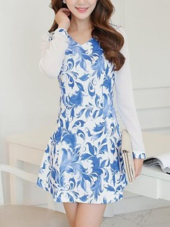 Blue Long Sleeve Fit & Flare Above Knee V Neck Dress for Casual Evening Office