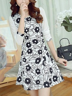 Black and White Long Sleeve Floral Fit & Flare Above Knee V Neck Dress for Casual Evening Office
