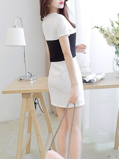 Black and White Sheath Above Knee Plus Size Dress for Casual Evening Office