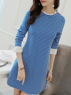 Blue Long Sleeve Shift Above Knee Dress for Casual Evening Office