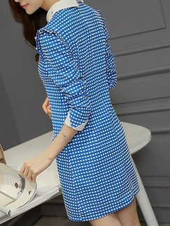 Blue Long Sleeve Shirt Shift Above Knee Dress for Casual Evening Office
