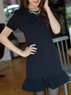 Black Sheath Above Knee Dress for Casual Evening Office