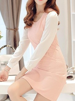 Pink Cute Sheath Above Knee Long Sleeve Dress for Casual Evening Office