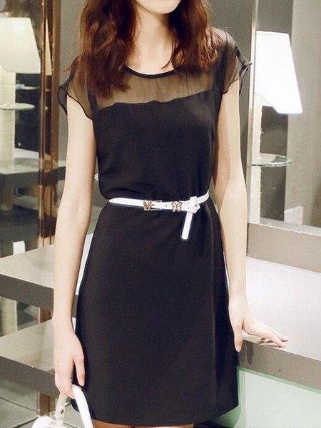 Black Shift Above Knee Dress For Casual Evening Office