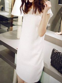 White Shift Above Knee Dress For Casual Evening