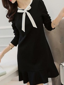 Black Long Sleeve Sheath Above Knee Dress for Casual Office Evening