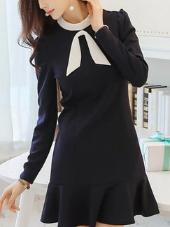 Blue Long Sleeve Sheath Above Knee Dress for Casual Office Evening