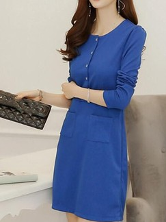 Blue Long Sleeve Above Knee Sheath Dress for Casual Office Evening