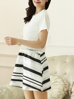 White and Black Fit & Flare Above Knee Dress for Casual Evening Party