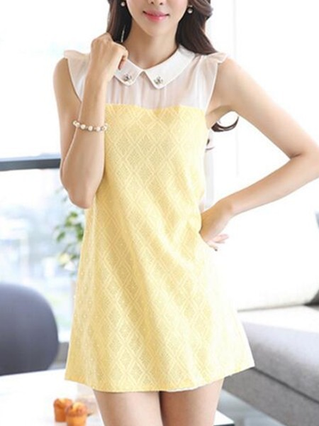 Yellow Shirt Shift Above Knee Dress for Casual Evening Party