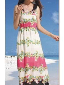 Beige and Pink Maxi Dress For Casual Beach