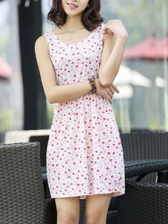 Pink Sheath Above Knee Cute Dress for Casual Beach